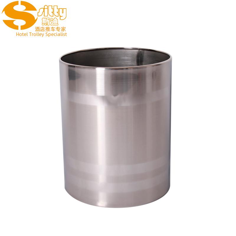 砂光横纹圆形不锈钢垃圾桶