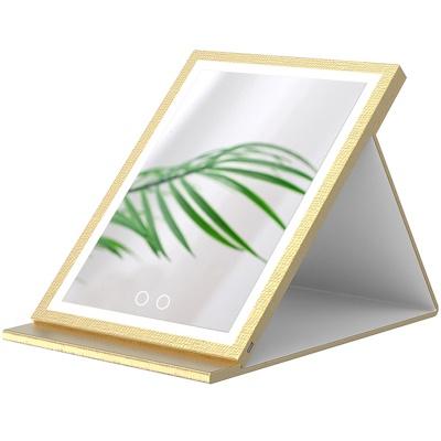 PU皮革折叠台式化妆镜便携随身带LED三色光高清桌面办公室镜大号