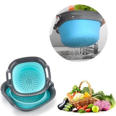 Collapsible silicone Kitchen Strainer steamer laundry basket Colander
