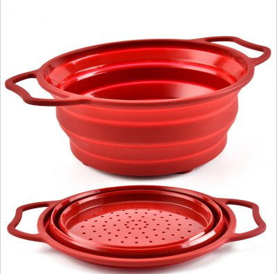 2019 New Style Kitchen Silicone Collapsible Colander Strainer for Fruit and Vegetable