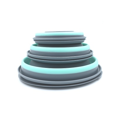 Silicone Foldable Pet Dog Bowl with Lid for Outdoor Camping