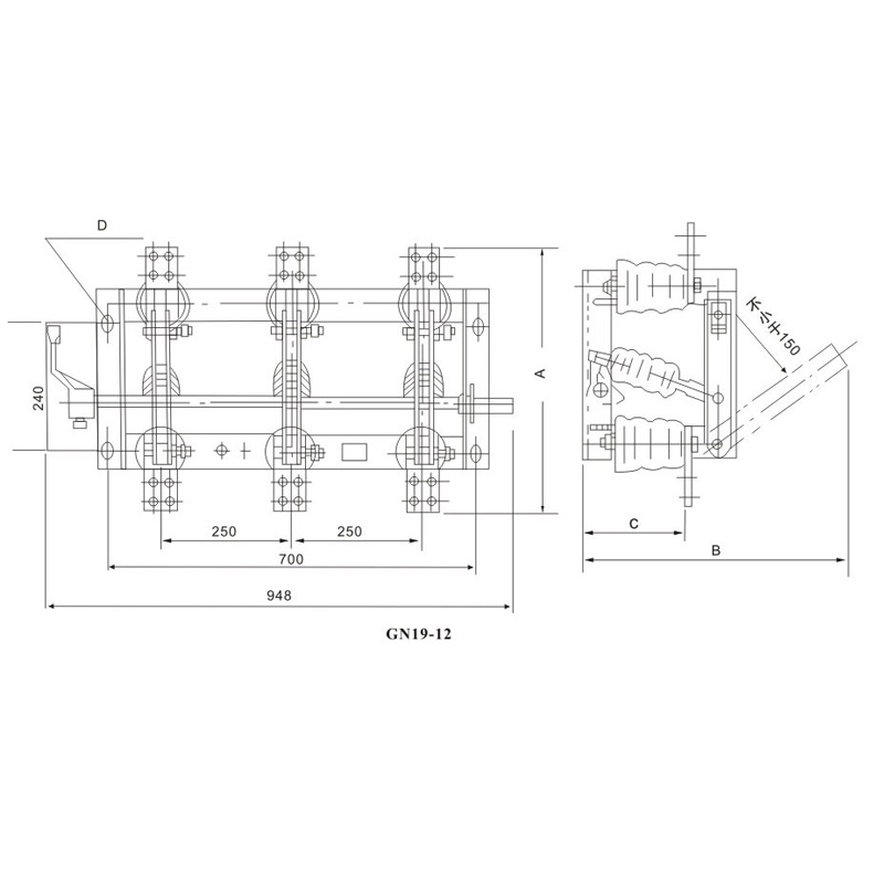 Indoor high voltage disconnecting switch GN19-12(C)