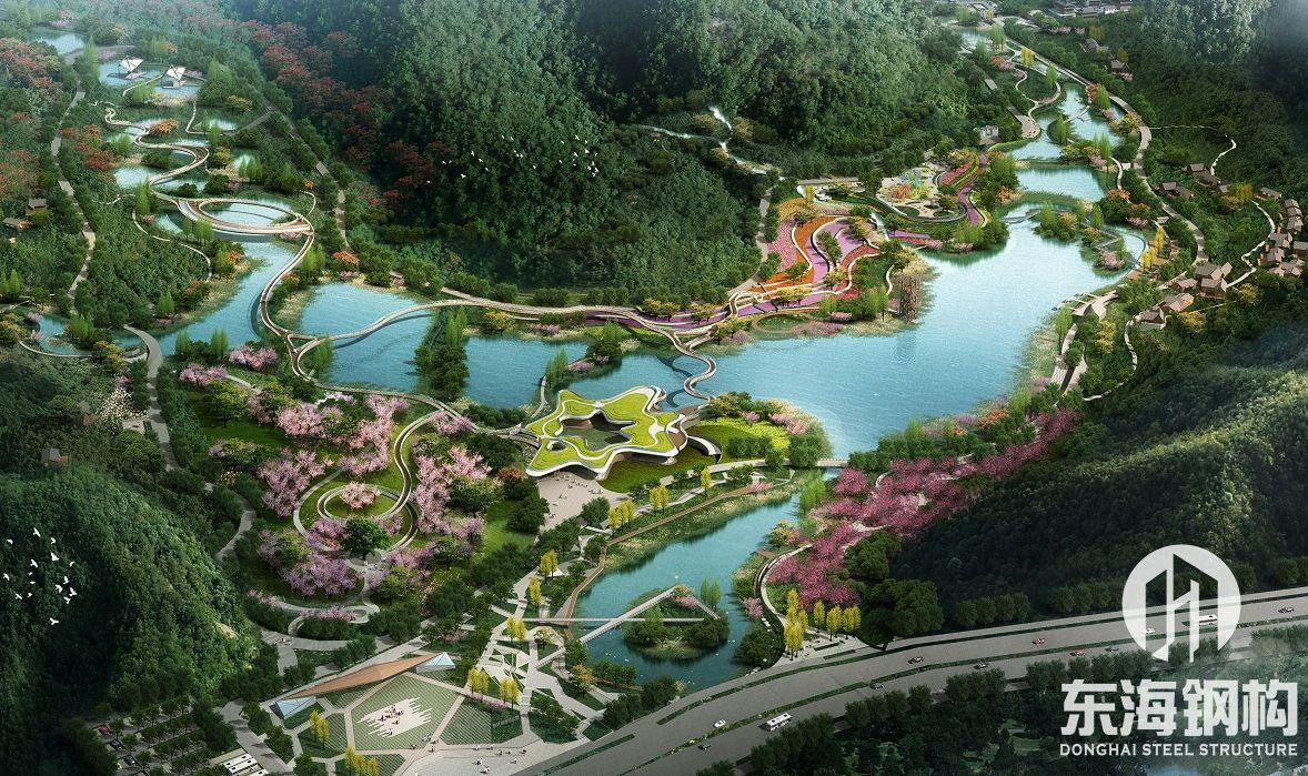 遵义市习水县东风湖国家湿地公园钢结构飘带桥